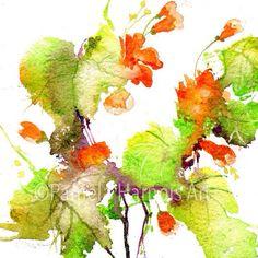 Orange Nasturtium Watercolor Art Print Spring Flower Spring Floral Wall Art Home Decor Paper Goods Beho Art