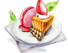 """Check out new work on my @Behance portfolio: """"dessert food drawing; watercolor painting"""" http://on.be.net/1OL0mEh"""
