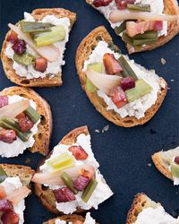 Ricotta Crostini with Pickled Ramps and Crisp Pancetta Recipe on Food & Wine
