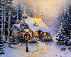 Thomas Kincaid-these are a few of my favorite things. Snow! Lamppost! Trees! Christmas. Fireplace:) I want to live here!!