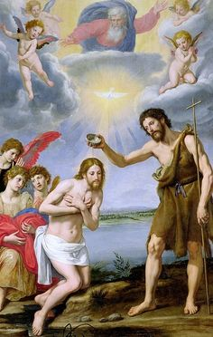 The Baptism of Christ Art Print by Ottavio Vannini Catholic Art, Religious Art, Roman Catholic, Saint François Xavier, Image Jesus, Baptism Of Christ, Jesus Painting, Jesus Christus, Holy Rosary