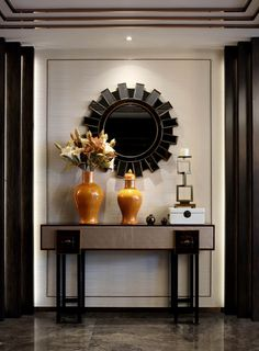 Picture idea 22 : luxury entryway decor a modern console table and mirror. Luxury Interior, Luxury Furniture, Modern Interior, Modern Decor, Furniture Design, Luxury Decor, Furniture Layout, Art Furniture, Contemporary Furniture
