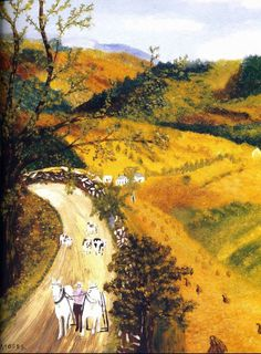 Grandma (Anna Robertson) Moses - - (via Ackerman's Fine Art… Grandma Moses, Landscape Paintings, Landscapes, Primitive Folk Art, Naive Art, Art For Art Sake, Outsider Art, Famous Artists, American Artists