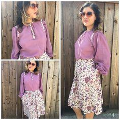 Vintage 70s Floral Summer Flower Dress 2 Piece Purple Tea Dress Size S | eBay