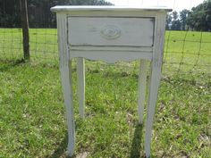 Shabby chic side table, nightstand ,vintage side table, end table,table, farmhouse decor, fixer upper, distressed white furniture, bedroom by KarensChicNShabby on Etsy