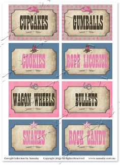 Cowgirl Party Labels  DIY PRINTABLE  Girls Birthday by Sassaby, $6.50