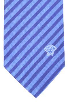 Silk men Versace tie, navy blue striped design.