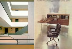 Left - Interior of the Piazza Ceramique by Dutch Architect Jo Janssen / Right - Eames Time Life Chair Advertisement