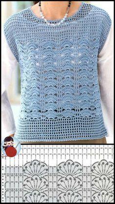 Débardeurs Au Crochet, Mode Crochet, Crochet Coat, Crochet Blouse, Thread Crochet, Crochet Clothes, Crochet Stitches, Crochet Vest Pattern, Knitting Patterns