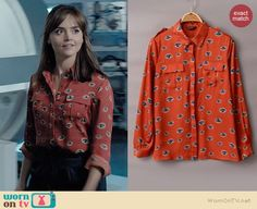 Clara's orange eye print shirt on Doctor Who.  Outfit Details: http://wornontv.net/36697/ #DoctorWho