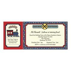 Personalized printable birthday invitation digital file thomas the train ticket invite rustic red blue 2 filmwisefo