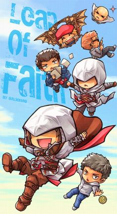 [AC1/AC2] Leap of Faith by Sazienas on DeviantArt Assassins Creed Quotes, Arte Assassins Creed, Cry Of Fear, Chibi, Assassin's Creed Wallpaper, All Assassin's Creed, Leap Of Faith, Video Game Characters, Cultura Pop