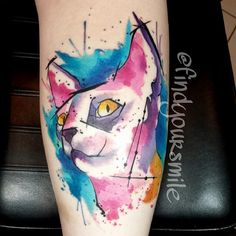 Watercolor tattoo of a Sphinx cat.