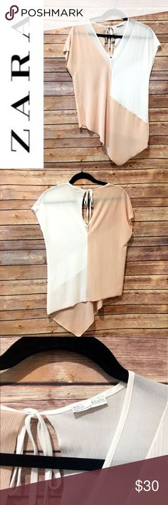 """Zara asymmetric colorblock shirt Lightweight and flowy asymmetric blouse from Zara. Worn once. Tie back. Length from shoulder is about 22-30"""". Armpit to armpit flat is about 19"""". Care/material tags removed because they were visible. Soft pink & white. Zara Tops Blouses"""