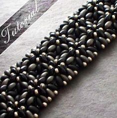Modèle de perle, perle tissage tutoriel, perle HortusTwin Cuff Bracelet modèle, Super Duos, étape par étape avec des diagrammes détaillés sur Etsy, 5,09 €