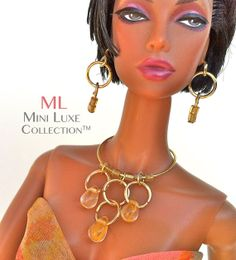 Yellow and Gold Bib Necklace Set Doll Jewelry for Fashion Royalty dolls, Barbie Dolls,  Poppy Parker and other 11 to 12 inch dolls by MiniLuxeCollection, $26.00