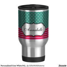 Personalized Cute White Polkadots Teal Pink Stripe 15 Oz Stainless Steel Travel Mug #Zazzle #Girly #Coffee