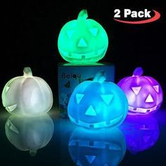 Decorate your home for Halloween with these Pumpkin Night Lights!Auto color changingBattery operated! No need to plug in! Can use anywhere!Pack of 2