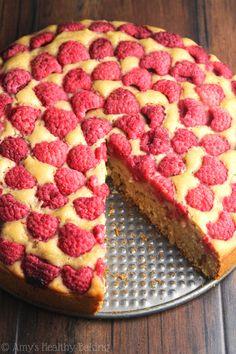 Simple Raspberry Lemon Cake -- SO easy to make & always a huge hit! It's clean-eating & secretly healthy enough for breakfast!