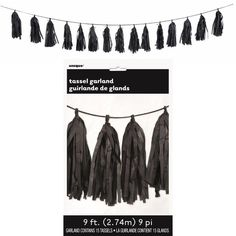 Check out Black Green Tissue Tassel 9' Garland | Black Decorations party supplies from Birthday in a Box from Birthday In A Box Black Party Decorations, New Years Eve Decorations, Birthday Box, Birthday Parties, Comic Party, Party Themes, Party Ideas, The Perfect Touch, Party Supplies