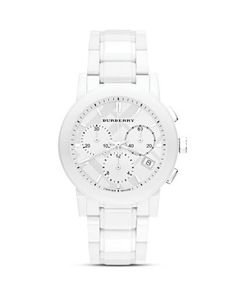 Burberry White Ceramic Chrono Watch, 38mm  Bloomingdale's