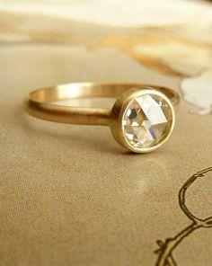 6mm Rose Cut Moissanite Ring