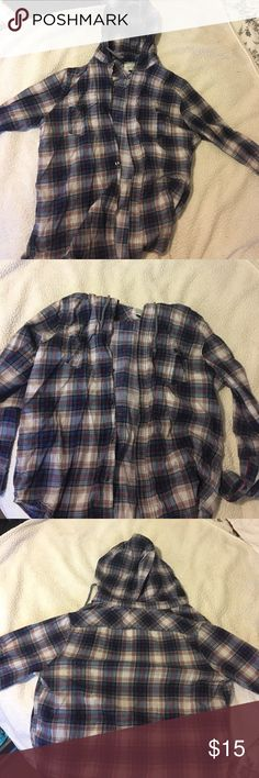 Flannel with hood Hooded button down flannel, gently used, listed free people for views. Bought from a local boutique! Very soft and cozy for warm nights Free People Tops Button Down Shirts