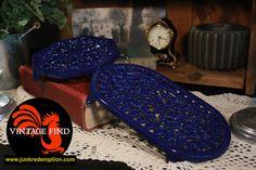 Cast Iron Enameled Blue Trivet set of 2 by JunkRedemption on Etsy