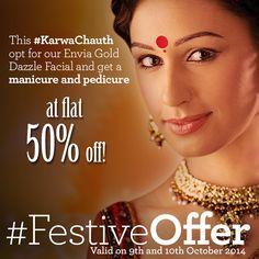 VLCC India #FestiveOffer: This #KarwaChauth opt for our Envia Gold Dazzle Facial and get a manicure and pedicure at a flat 50% off!  To find your nearest VLCC offer, click here: http://www.vlccwellness.com/India/center-locator/