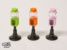 3 Gumball machines(orange, pink and light green) This set includes: all requiredLEGO® parts a not pre-cut waterproof permanent adhesive transparentPVC sticker sheet