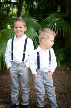Adorable! Ring Bearers -- Grey pants, white shirt, and suspenders (maybe a bow tie)?