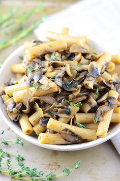 Vegan Mushroom Thyme Garlic Pasta
