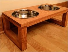 DIY elevated dog bowl stand