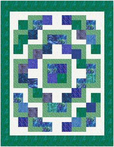 L-Block, falling charms, layed with a different pattern and 4-patch in center, love the colors!