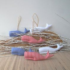 Mini Whales ornament whales mobile Nautical baby room 6