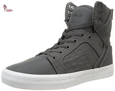 Supra Skytop, Sneakers Hautes mixte adulte, Gris (Charcoal/White), 7 - Chaussures supra (*Partner-Link)