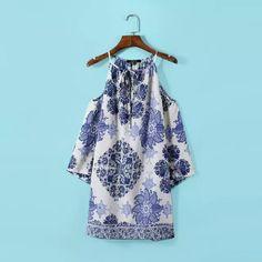 Fashion Ladies' Geometric floral print Dress sexy vintage halter off shoulder chiffon mini dress casual slim brand dress