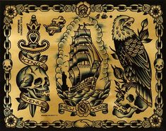 (by Paul Anthony Dobleman) Traditional Eagle Tattoo, Traditional Tattoo Design, Traditional Flash, American Traditional, Black Tattoos, Body Art Tattoos, Kings Avenue Tattoo, Pirate Ship Tattoos, Adventure Tattoo