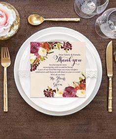Fall or Winter Wedding Thank You Place Card by CreativeUnionDesign. Wedding Place Cards, Wedding Paper, Wedding Thank You, Card Wedding, Wedding Stuff, Dream Wedding, Diy Wedding Gifts, Trendy Wedding, Wedding Ideas