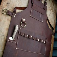 Leather Apron with knife sheath pocket and towel by CyclonaDesigns