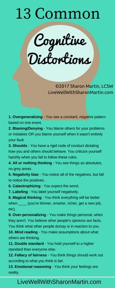 13 Common Cognitive Distortions - Allowing negative thinking to dominate, rather than being rational, balanced & purposeful