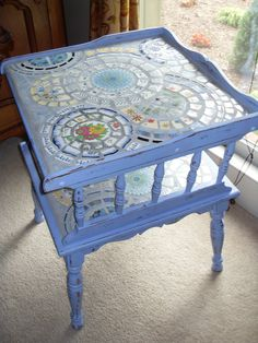 Pale Blueberry Shabby Chic Mosaic Topped Table by MedallionHouse. $325.00, via Etsy.