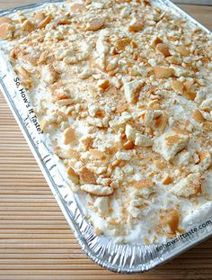 Banana Pudding Poke Cake by So, How's It Taste I NEED TO FIND A WAY TO MAKE THIS GLUTEN FREE! THE ONLY CHALLENGE WOULD BE THE WAFFERS. I LOVE, LOVE, LOVE VANILLA PUDDING, AND I ALWAYS JUST HAVE TO LEAVE OUT THE WAFFERS... THERE HAS TO BE AN ALTERNATIVE! CHALLENGE ACCEPTED...