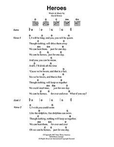 Heroes Sheet Music Guitar Chords And Lyrics, Easy Guitar Songs, Guitar Chords For Songs, Guitar Sheet Music, Music Lyrics, Guitar Lessons, Ukulele Tabs, Music Sheets, Ukulele Chords