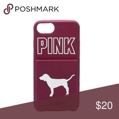 NWT VS PINK IPhone 6/7/8 Plus Case Brand new in original packaging. Fits iPhone 6/7/8 PLUS. Has a credit card slot on back. Ruby colored. PINK Victoria's Secret Accessories Phone Cases