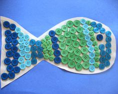 How cute! Use colored buttons to make a fish! This would be a great fine motor skills activity for little ones, but it would look great in a frame and hung up on the wall!