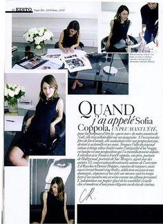 Paris Vogue Sofia Coppola bio. magazine layout