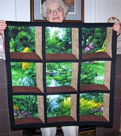 Garden Quilt.  Attic Window pattern. Stained Glass Quilt, Small Quilts, 3d Quilts, Panel Quilts, Baby Quilts, Quilted Wall Hangings, Attic Window Quilts, Landscape Quilts, Quilt Block Patterns