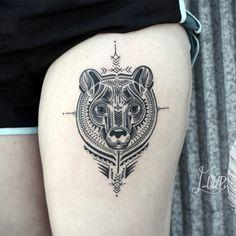 Bear, thigh tattoo on TattooChief.com