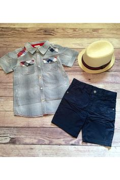 Boys Checkered Top with Plaid - $44